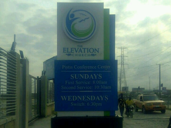 Elevation church cantilever sign - Goldfire Nigeria Limited| Signage company in Lagos Nigeria