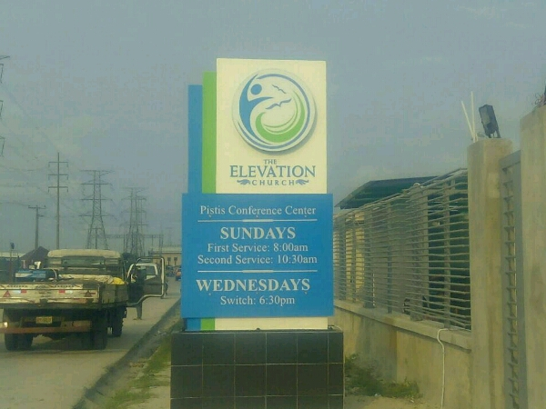 Pylon sign for The Elevation Church Goldfire Nigeria Limited - Lagos