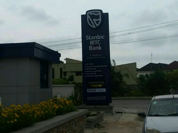 Pylon sign for Stanbic IBTC Admiiralty signage - Goldfire Nigeria Limited