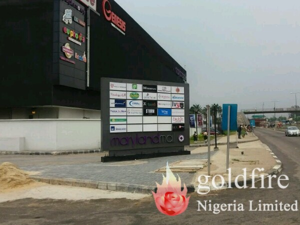 Maryland mall outdoor signage - Goldfire Nigeria Limited - Best signage company in lagos nigeria